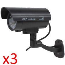 3 X Manichino Falso Casa Lavoro Outdoor sorveglianza Telecamera Sicurezza Cctv Lampeggiante LED