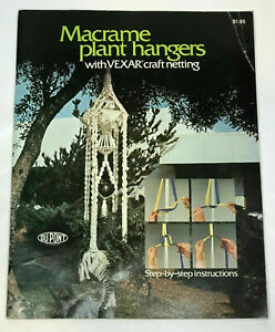 Vintage 1970's Macrame Plant Hanger Patterns With Vexar Craft Netting Du Pont