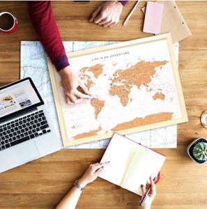 "Travel Canvas Map Cork Board ""WORLD"" & ""AUSTRALIA"" +100 pins Personalized Map"