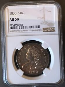 1833 EARLY SILVER HALF-DOLLAR NGC AU 58*** FREE*** s/h
