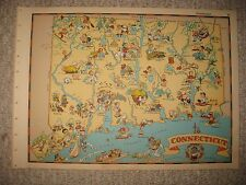 ANTIQUE 1935 CONNECTICUT OUR USA A GAY GEOGRAPHY CARTOON PICTORIAL MAP CHARMING