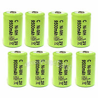 8 pcs C Size 1.2V 9500mAh Ni-MH R14 Rechargeable Battery Cell For RC Toy Green