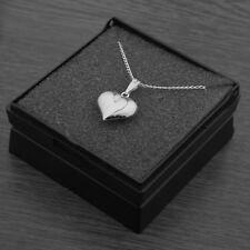 "Genuine 925 Sterling Silver 3D Heart Pendant Necklace Gift Box 18"" Inches 45cm"