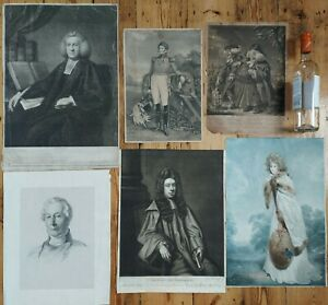 Job lot of six antique portraits engraving / print /mezzotint - Georgian