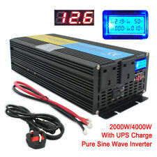 LCD 4000W peak 2000W Pure Sine Wave Power Inverter 12V to 230V UPS Charger LCD