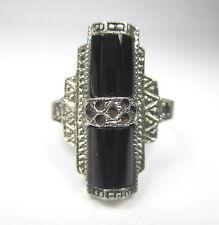 Art DECO ring 925 sterling argent onyx Markasit vintage 30er-60er silver tn1
