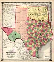 Map Antique Lloyd 1874 Texas Indian Territory Large Replica Canvas Art Print