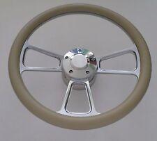 "Khaki Half Wrap 14"" BILLET Steering wheel kit with Hub adaptor & Horn Button"
