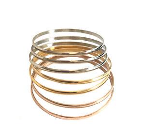 7pcs Tri-Tone Stainless steel Bracelet Silver/Rose/Gold Plated Bangle Set