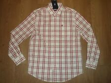 Farah Check Woven Long Sleeve Cotton Shirt Light Off White Red Modern Fit M New