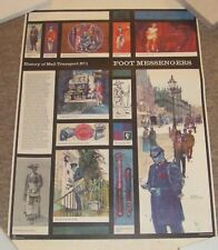 Vintage 1960s Classroom Wall Posters - History Of Mail Transport. Set Of Seven.