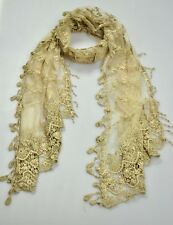 W12 Gentle Cotton Yarn Lady Party Long Scarf Shawl Embroidery Floral Lace Khaki
