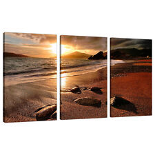 Three Piece Sunset Beach Canvas Art Pictures Living Dining Room 3131