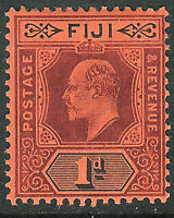 Fiji 1904 purple/black on red 1d multi-crown CA mint SG116