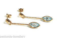 9ct Gold Blue Topaz Long Drop dangly Earrings Gift Boxed Made in UK Christmas