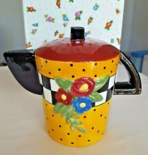 Rare Vtg Nib Mary Engelbreit 1995 Ceramic Teapot Coin Bank.Flowers & Polka Dots