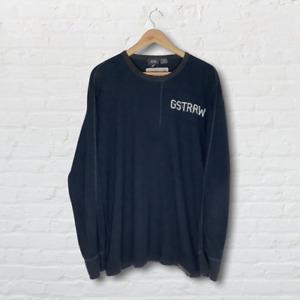 G-Star Raw Long Sleeve Mens Blue T-Shirt UK Size XXL