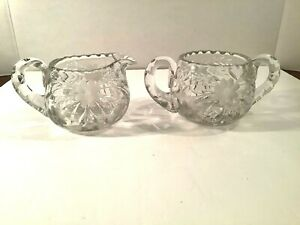 Vintage Lead Crystal Creamer & Open Sugar Bowl Set Etched Cut Floral Glass