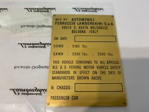 NOS Lamborghini Espada DOT Chassis Weight Compliance ID Plate