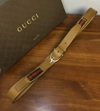 """$420+Tx GUCCI """"Equestrian"""" Belt Green/Red Web Detail *Limited Edition 2017!!* 43"""