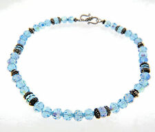 Blue Crystal Bead Bali Silver Sterling Necklace Strand 8mm 16.5""