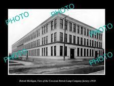 OLD 8x6 HISTORIC PHOTO OF DETROIT MICHIGAN CORCORAN CAR LAMP FACTORY c1910