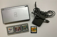 Nintendo DS Lite Silver Handheld System W/ 4 Games And Game Case Tested/Working