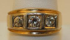 VINTAGE MEN DIAMOND RING 14K GOLD 3-STONE DIAMOND TOTAL WEIGHT 1.19CT. VERY NICE