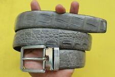Gray Genuine  Alligator, Crocodile Leather Skin Men's Belt