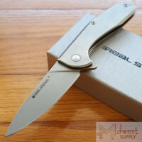 "Real Steel E571 Folding Knife 3.2"" Stonewash 14C28N Steel Blade Stainless Handle"
