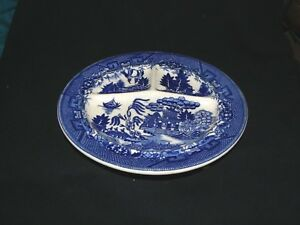 "Antique Moriyama Blue Willow China Divided Dinner Plate 10"" Made Occupied Japan"