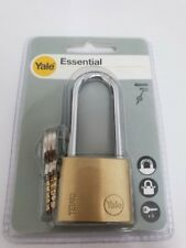 YALE SECURITY LONG SHACKLE PADLOCK 40mm WITH 3 KEYS - SOLID BRASS - NEW