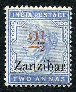 Zanzibar SG27 2 1/2d pale blue opt 2 1/2d type 7 in Red (surface rub) Cat 200 po