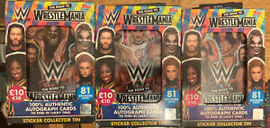 WWE The Road To Wrestle Mania Sticker Packets -All 3 Different Sealed Tin