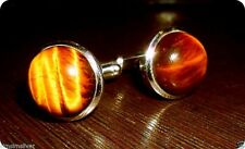 New 925 Sterling Silver Natural Fine Quality Tiger's Eye Gemstone Cuff links