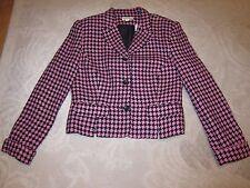 Ann Taylor pink & black diamond pattern woven wool blend blazer, ladies' size 8