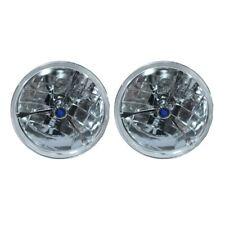 "7"" Blue Dot Glass Tri Bar Headlights H4 Bright For Ford Chevy Nova 55 56 57"