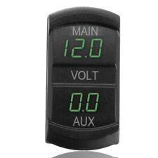 Dual Voltmeter Voltage Gauge Green LED Digital Panel Battery Monitor 10-60V Car