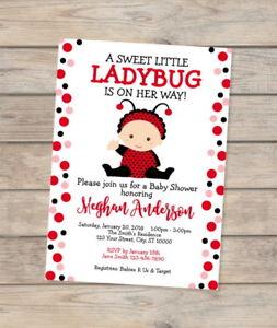 Ladybug Baby Shower Invitation, Little Red Ladybug Invitation For Baby Girl