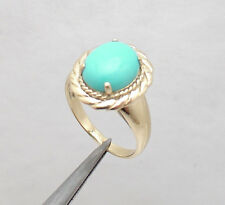 Sz 7 Sleeping Beauty Turquoise Gemstone Crown Ring REAL 14K Yellow Gold QVC