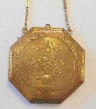1920s Compact Chatelaine Chain Floral Etch Tiffany & Co 14K Yellow Gold Ornate