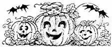 Northwoods Rubber Stamp Kitten and Bats in a Pumpkin Patch Halloween Fall O3733