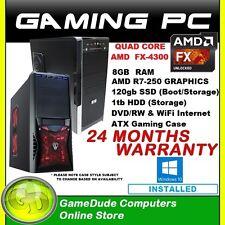 AMD QUAD CORE GAMING PC FX4300 R7-250 GFX WiFi 8gig 120g SSD & 1tb HDD Windows10