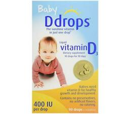 Ddrops Baby Liquid Vitamin D3 400 IU 2.50 mL 90 drops (US seller) EXP:08/2020 ++