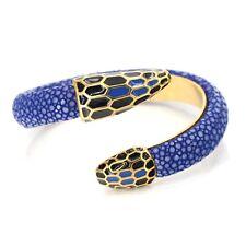 Bracelet Rigide Ouvert Serpent Cuir Noir Acier Inox Plaqué Or 18K Email Bleu TRZ