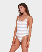 BNWT BILLABONG LADIES 2018 SWELLS UP STRIPED ONE PIECE (WHITE) SIZE 10 RRP$99.99