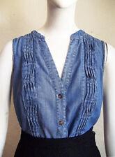 CATHERINE MALANDRINO Denim Chambray Wavy Pintuck Button Front Cotton Shirt 4
