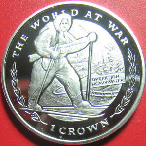 """1999 GIBRALTAR CROWN SILVER PROOF """"OPERATION HEAVYWATER"""" MILITARY SKIER WWII"""