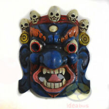 China Wood Hand Carved Painted Tibetan Buddhism NUO MASK Walldecor Art- Mahakala
