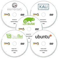 5 x Linux DVD Collection 64bit Ubuntu, Linux Mint, Debian, Kubuntu & Elementary